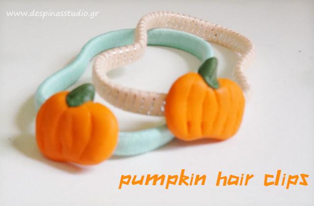 Polymer clay pumpkin hairclips