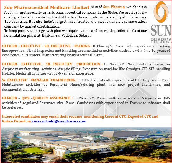 Sun Pharma | Hiring for Production/QA/Packing/Engg at Vadodara | Send CV