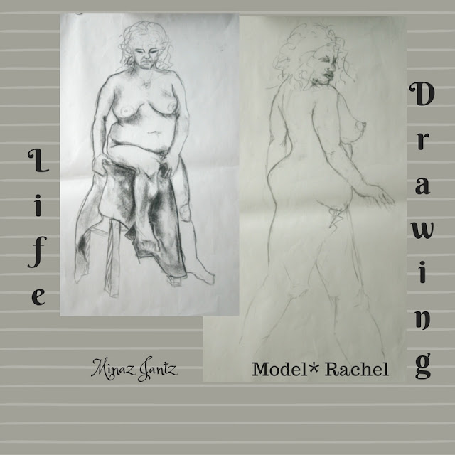 Nude Drawings by Minaz Jantz. Model Rachel