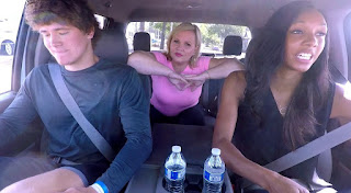 Holly Rowe sitting inside the car with her friends
