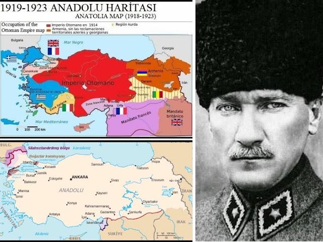 Şahan Gökbakar Birinci haritada kırmızı olan yer Osmanlı'nın imzaladığı Sevr'e göre vatanımız.