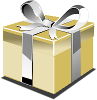 A yellow box wrapped with silver ribbon and tied with a bow.