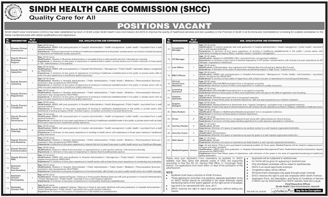 Jobs in Sindh Health Care Commission Jobs in Pakistan