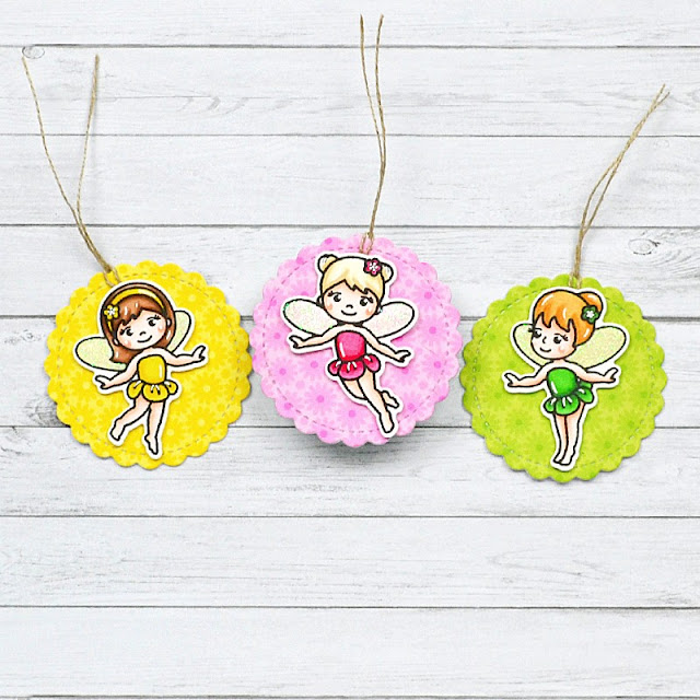 Sunny Studio Stamps: Garden Fairy & Scalloped Circle Mat Dies Everyday Tags by Marine Simon