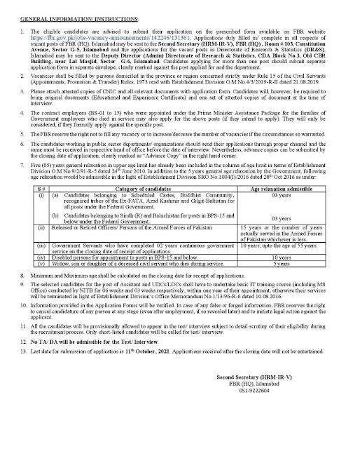 Federal Board of Revenue (HQ) Islamabad jobs in Pakistan 2021