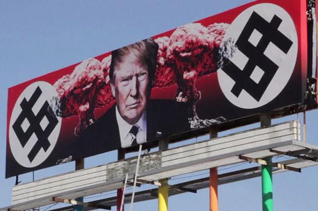 Heboh, Papan Iklan Trump dengan Tanda Dolar Seperti Lambang Nazi
