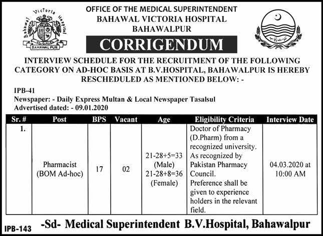 Bahawal Victoria Hospital Jobs For Pharmacist 2020