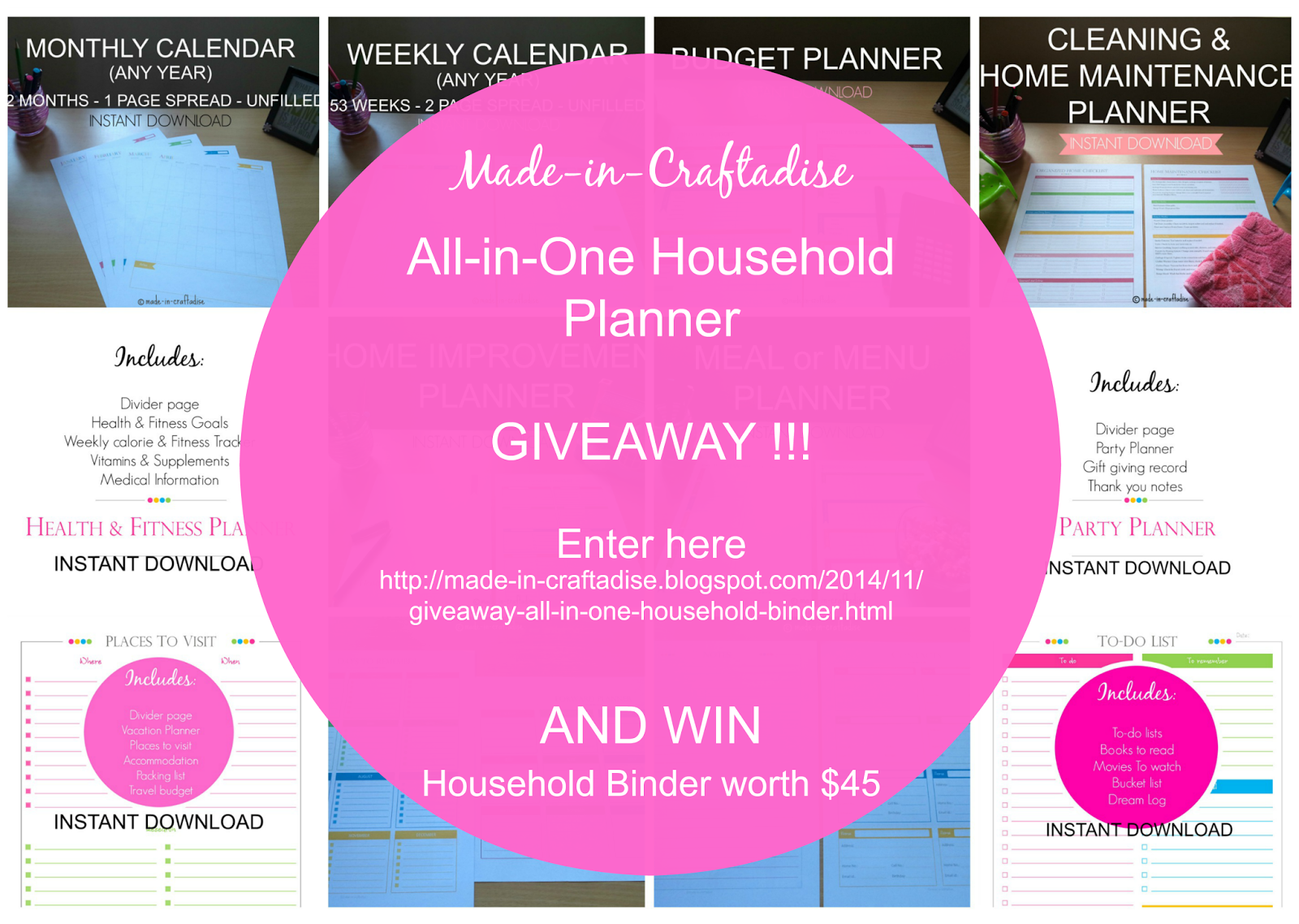 GIVEAWAY !!!! All-in-One Household Binder - Printable Planner PDF