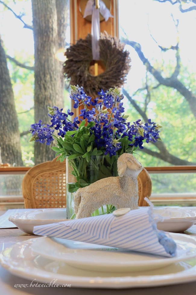 Easter Table With Bluebonnets cut from my backyard