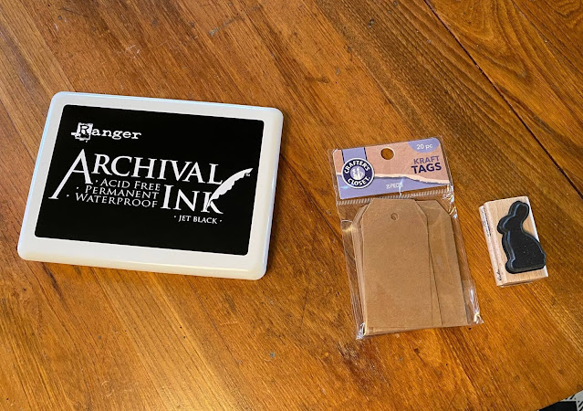Photo of inkpad, tags, and bunny rubber stamp