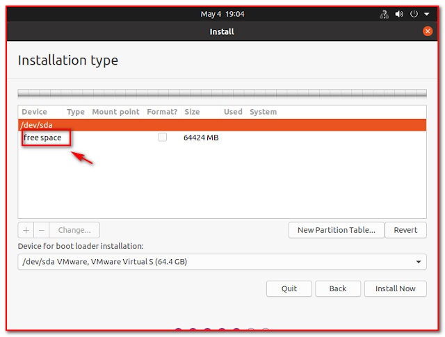 Free space for Ubuntu installation