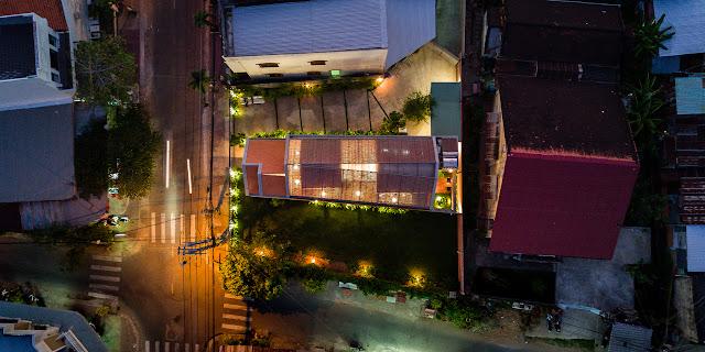 upper aerial view of modern home in Vietnam