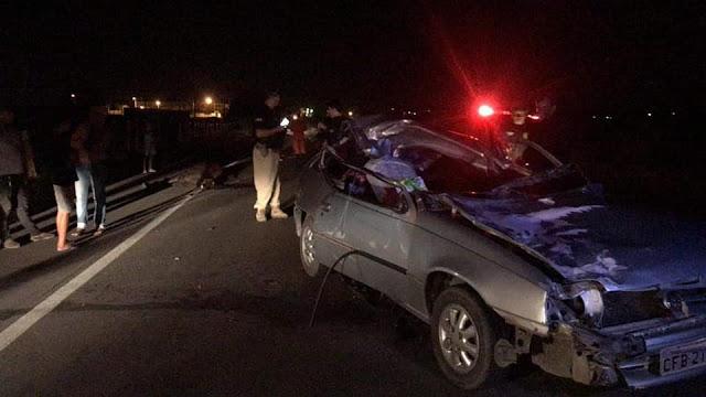 Em Dois Riachos, acidente entre carro e animal na BR-316 deixa sete pessoas feridas e uma morta
