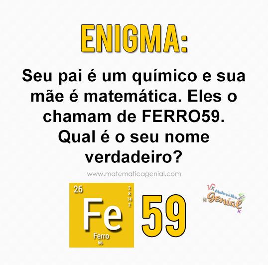 Seu pai é um químico e sua mãe é matemática. Eles o chamam de Ferro59. Qual é o seu nome verdadeiro?