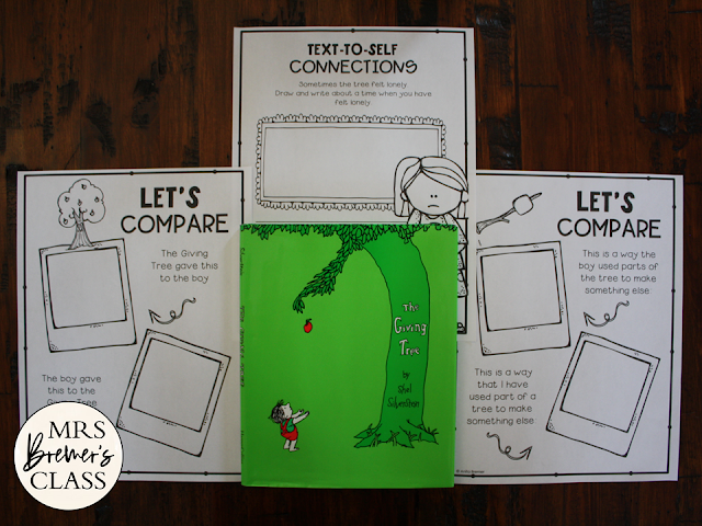 The Giving Tree book study unit Common Core literacy companion activities for K-1