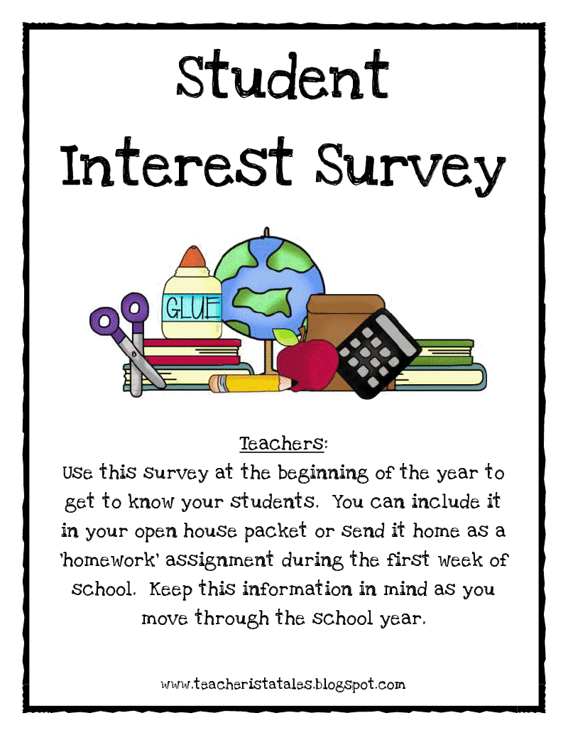 school surveys for students tales of a teacherista student interest survey freebie 2844