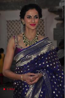 Model Shilpa Reddy Stills in Purple Silk Saree at Gudi Sambaralu 2017 Sri Ramachandra Swami Temple  0026.JPG