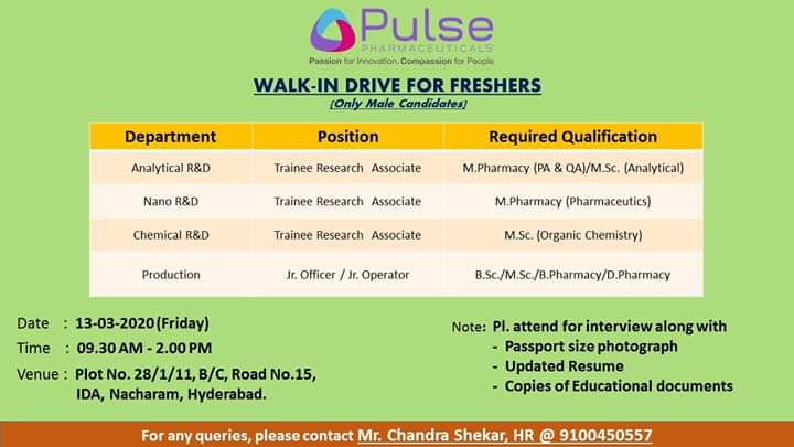Pulse Pharma - Walk in Interview for Fresher on 13th March 2020