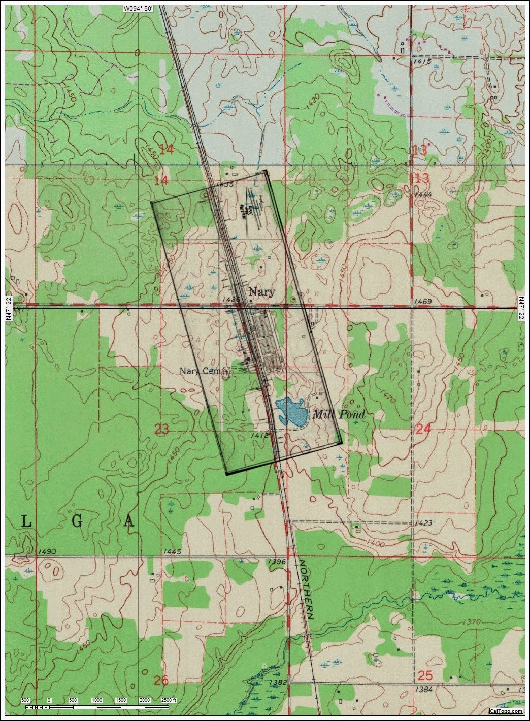 the 1916 railroad plat laid over a usgs topographic map