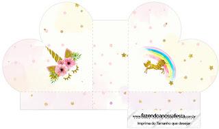 Caja abierta en forma de corazón de Fiesta de Unicornios.