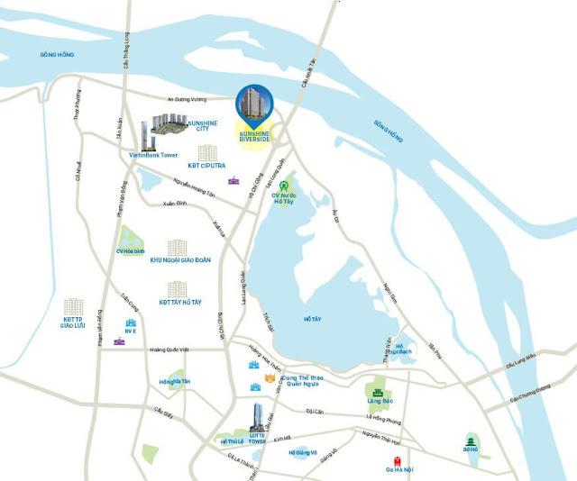 Vị trí chung cư Sunshine Riverside Tây Hồ