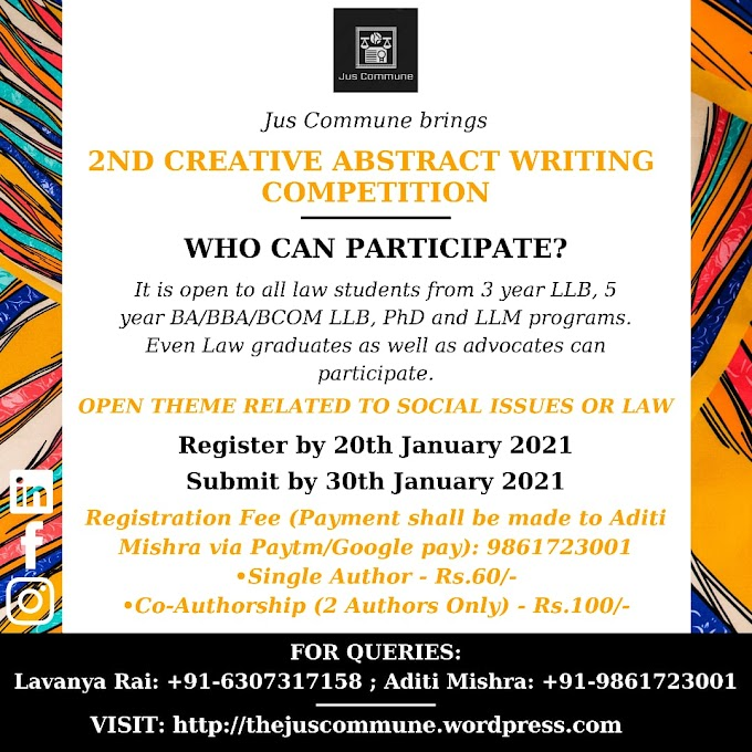 Second Creative Abstract Writing Competition by Jus Commune: Register by 20th January 2021