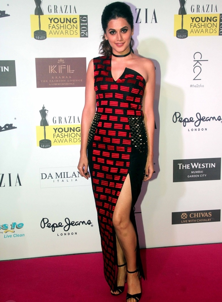 Actress Taapsee Pannu In Maroon Dress At Grazia Young Fashion Awards