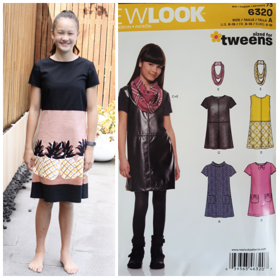 a young girl posing in a pink and black dress and the cover of a sewing pattern