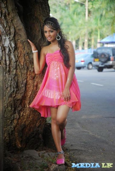 Shalani Tharaka in a Pink Shot Dress Hot Niliyo