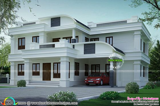 Curved roof mix house plan