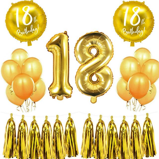 Zestaw balonów na 18 urodziny w złotym kolorze
