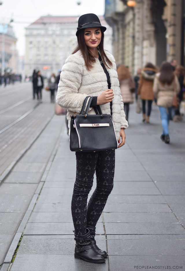 What to wear when temperatures dip close to sub-zero - few stylish street fashion inspiration to inspire your daily outfits. Lea Patekar, faux fur jacket and biker boots, women's winter street fashion