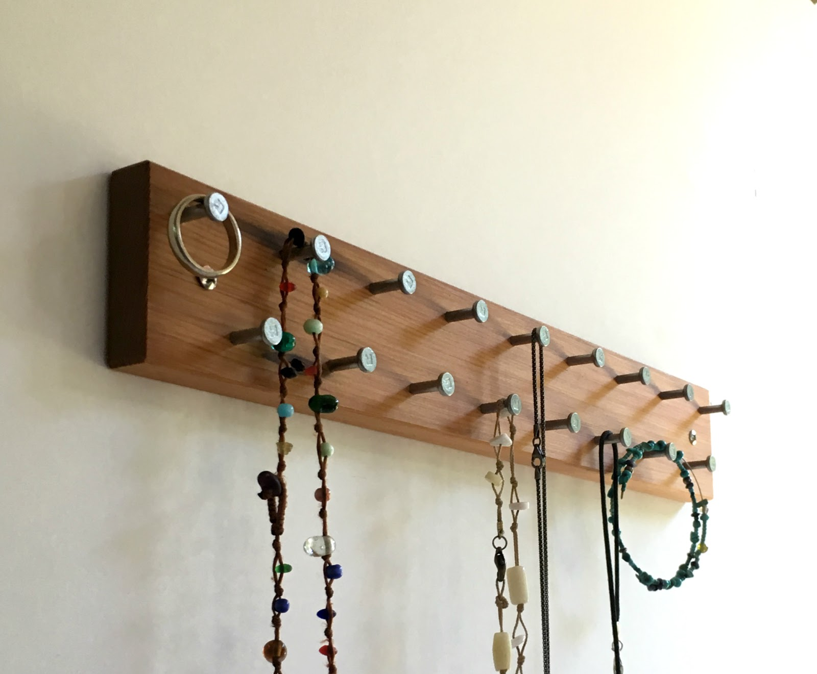 Jewelry Rack Modern Rustic Wood With Smooth Metal Nails Wall Mount