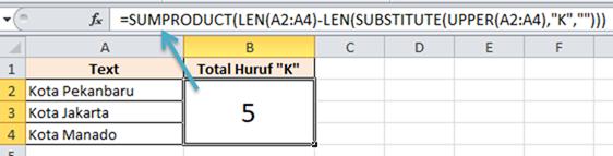 Contoh Rumus Excel Menghitung Huruf pada Range