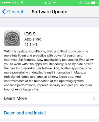 iOS 9 OTA from iOS 9 GM
