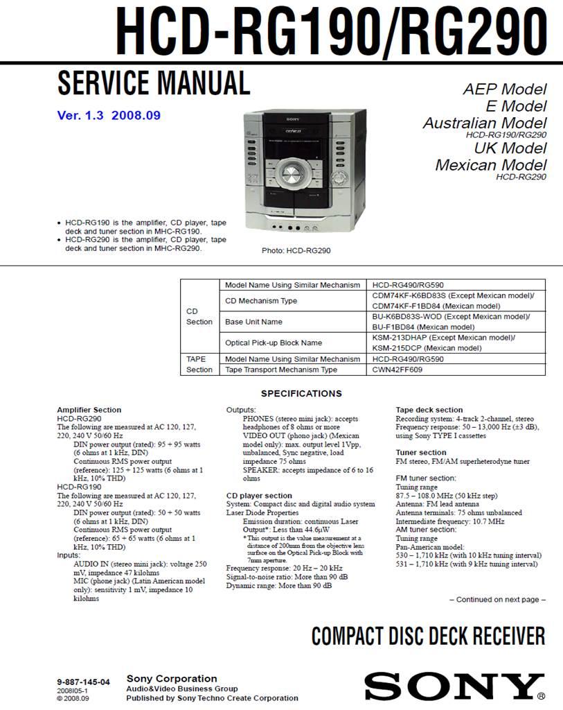 HCDRG190 RG290 DIAGRAMA SONY   Reparación Técnica