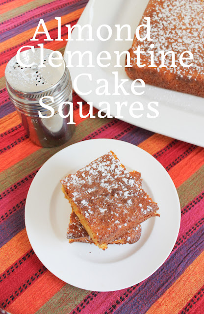 Food Lust People Love: Super easy to make, the rich batter for these almond clementine cake squares is whipped up in a food processor with long simmered clementines, which you don't even peel. I've been making versions of this cake for years with great success. As long as your guests like orange marmalade and almonds, they are going to be huge fans, I promise. This recipe is adapted from Nigella Lawson's very first book, How to Eat, the Pleasures and Principles of Good Food, originally published in 1998. It is naturally gluten-free as long as you take care that your baking powder is gluten-free, of course.