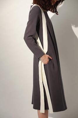 月光之城有機棉綁帶長洋裝-暖炭灰