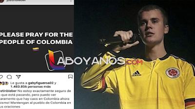 """""""Oren por Colombia"""" Pidió Justin Bieber a sus 173 millones de seguidores en Instagram"""