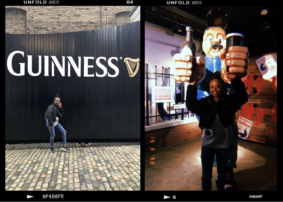 A collage of two photos. Photo 1 is a shot of me infront of the Guinness storehouse gates and photo 2 is a shot of me under a statue of a man holding two beers