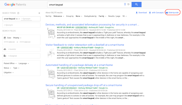 Google patents search results side-by-side
