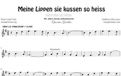 Meine Lippen sie kussen so heiss Opera Partitura Fácil de Flauta, Violín, Saxofón Alto, Trompeta, Viola, Oboe, Clarinete, Saxo Tenor, Soprano Sax, Trombón, Chelo, Fagot, Trompa, Corno, Contrabajo, Tuba... Vals