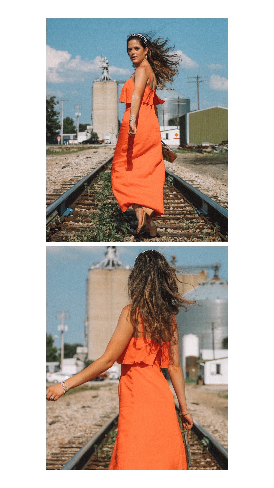 Style blogger, Kathleen Harper's outdoor photo shoot idea on train tracks.