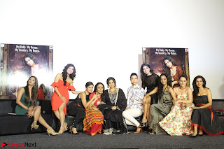 Vidya Balan with Ila Arun Gauhar Khan and other girls and star cast at Trailer launch of move Begum Jaan 012.JPG