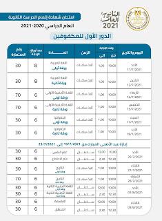 جدول امتحان الثانوية العامة دور يوليو 2021 مكفوفين