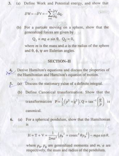 HPU M.A M.Sc Classical Mechanics 2012 Question Paper