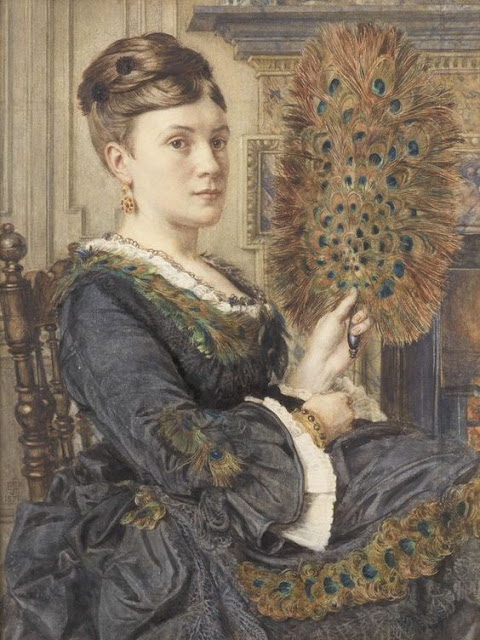Edward John Poynter The Peacock Fan, Portrait of Elizabeth Courtauld 1871