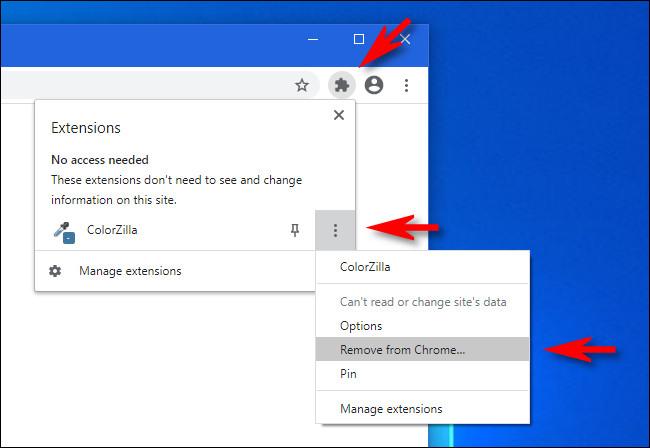 """في قائمة ملحقات Google Chrome ، انقر فوق زر الحذف وحدد """"إزالة من Chrome""""."""