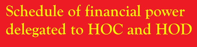 Schedule of financial power delegated to HOC and HOD