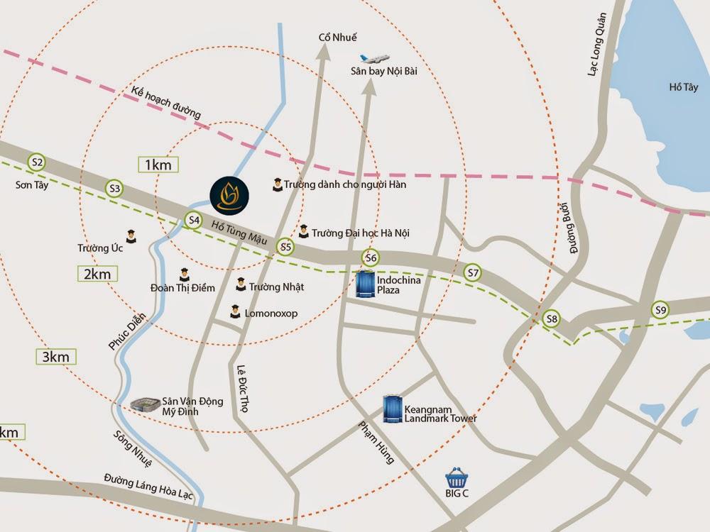Vị trí chung cư Goldmark City 136 Hồ Tùng Mậu